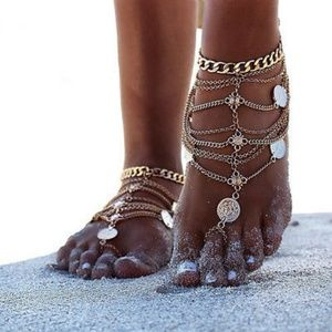"""Jewelry - Boho Gold Coin Layered """"Barefoot"""" Sandal Anklet"""